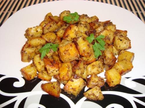 Cartofi la cuptor cu mustar si usturoi